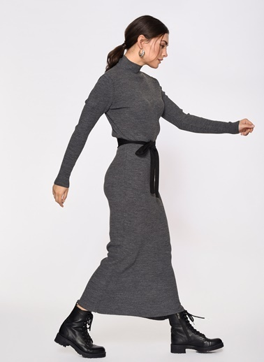 Loves You Yarım Balıkçı Triko Elbise Antrasit